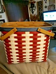 Longaberger New Red White Blue Series Magazine Basket With Protector