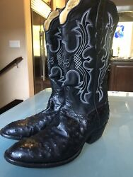 T.o Stanley Cowboy Black Boots Ostrich With The Original T.o Stanley Signature