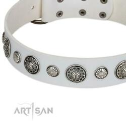 Snow White Leather Dog Collar For Large Dog Breeds With Metal Buckle And Flowers
