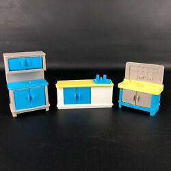 Vintage Dollhouse Furniture Lot Kitchen Sink Cabinets Stove 90s 2000and039s Colorful