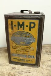 Rare Vintage I-m-p Imperial Refining Co. 5 Gallon Motor Oil Can- Lock Haven, Pa