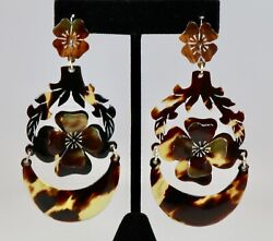 Antique Estate Faux Shell Hand Carved Dangle Earrings 3-d 4 Leaf Clover 3h