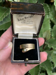 Rare Old Antique Victorian 18ct Gold Snake Ring With Diamond Eye Size M 1/2 2.8g
