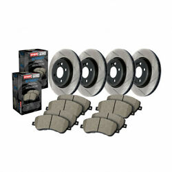 Stoptech Front/rear Brake Rotor Slotted And Front/rear Brake Pads - Sold As Kit