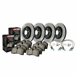 Stoptech Front And Rear Disc Brake Rotor - Brake Pads And Brake Line - Sold As Kit