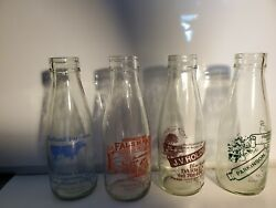 Vintage Milk Bottle Collection From 1980's, All British Glass Bottles Lot Of 4