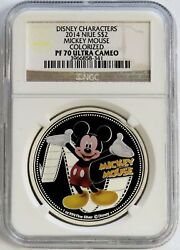 2014 Silver Niue 2 Mickey Mouse Disney Characters Colorized Coin Ngc Pf 70 Uc