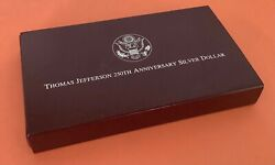 1993 Thomas Jefferson 250th Anniversary Silver Dollar Proof Only One W Coa -4a