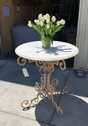 Antique/vintage South Of France Hand Forged Iron Foyer Table Base And Marble Top