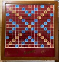 Scrabble 2004 Luxury Edition Wood Board Game With Drawer Lazy Susan Complete