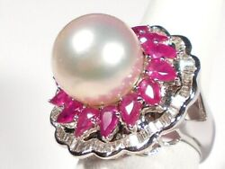 13.2mm White South Sea Pearl Ring, Diamonds, Rubies, Solid 18k White Gold.