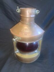 Cwc Port Nautical Vintage Ruby Red Glass, On Brass Lantern Hanging