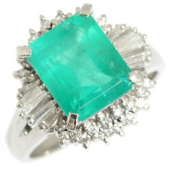 Emerald Diamond Ring E3.10ct D0.40ct Pt900 With No. 13 Identification Cer