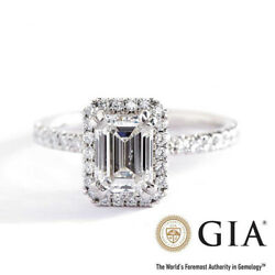 Gia Certified 1.50 Cts Vs2 D Emerald Double Prongs Halo Diamond Engagement Ring