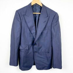 Tom Ford Navy Blue Button Front Tailored Suit Blazer Jacket Mens Size 48 R Flaw