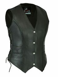 Ladies Real Leather Laced Up Motorcycle Biker Waistcoat Womens Vintage Coats