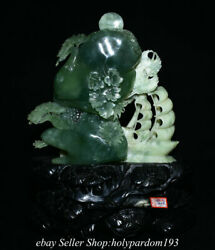 15.2 Chinese Natural Green Xiu Jade Carved Fengshui Mountain Crane Boat Statue