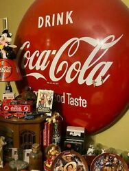 Vintage Coke A Cola 1940and039s 1950and039s Metal Circle Signandnbsp