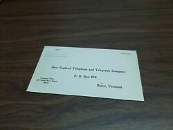 Old New England Telephone And Telegraph Company Unused Envelope Barre Vt Vermont
