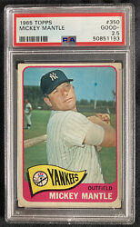 1965 Topps Mickey Mantle 350 Psa 2.5 Good + New Psa Label Not 2 Or 3
