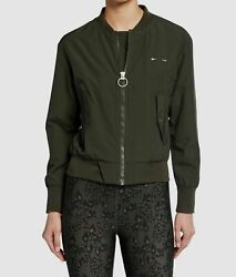195 The Upside Womenand039s Green Bomber Full-zip Relaxed Jacket Coat Size M