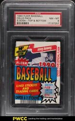 1990 Fleer Baseball Cello Pack W/ Sammy Sosa Rookie Rc Top And Back Psa 8 Nm-mt