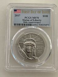 2017 100 Platinum Eagle Pcgs Ms70 First Day Of Issue Statue Of Liberty 1 Ounce