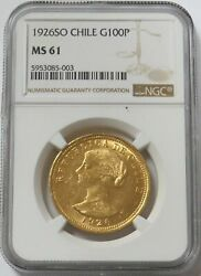 1926 So Gold Chile 100 Pesos 1st Year Issue Ngc Mint State 61 Santiago Mint