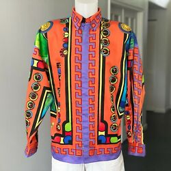 Gianni Versace Istante Cotton Shirt Miami Print Size It 46 From Ss 1993