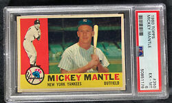 1960 Topps Mickey Mantle 350 Psa 6 Ex-mt New Psa Label Centered