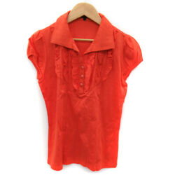 Reflect Shirt Blouse Short Sleeve Open Color Frill 11 Orange /yk26 Women And039s