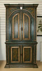 Antique Swedish Painted Cabinet 1800's Teal Green And Gold 4 Doors Trees Birds