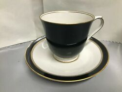 Vintage Noritake Ivory And Ebony 7274 Japan China Cup And Saucer Black 3 T