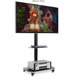 Portable Swivel Floor Tv Mount Stand With Wheels For 65 Inch Flat Screen Tvs