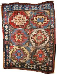 Handmade Antique Oriental Rug 3.5and039 X 4.6and039 106cm X 140cm 1870s - 1b441