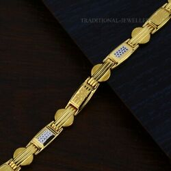 22k Yellow Gold Menand039s Bracelet Beautifully Handcrafted Diamond Cut Design 144