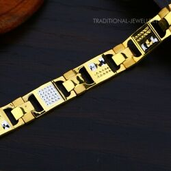 22k Yellow Gold Menand039s Bracelet Beautifully Handcrafted Diamond Cut Design 147