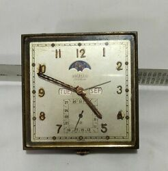 Antique Collectible Angelus Folioluxe Travel Full Calender Clock With Moon Dial