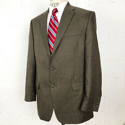 Chaps Mens Sport Coat 44 L Brown Houndstooth 2 Button Single Breasted Blazer