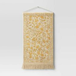 Woven Cotton Printed Wall Tapestry Yellow Threshold