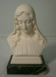 Religious Statue Mother Mary Madonna White Bisque Marble Base Lovely Detail