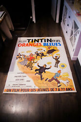 Tintin The Blue Oranges 4x6 Ft Vintage French Movie Poster Rerelease 1980's