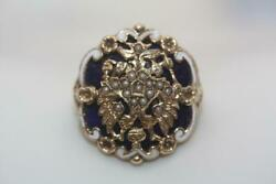 Vtg 14k Gold Blue And White Enamel Seed Pearl Russian Coat Of Arms Ring Sz 6.75