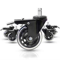 Dr.luck 3 Office Chair Caster Wheels W/dual Lock Metal Brake Set Of 5 - Heavy And