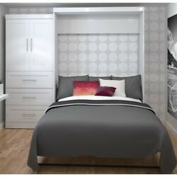 Atlin Designs 100 Queen Wall Bed With Storage In White