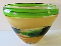 Waterford Evolution Peridot Whisper Large Oval Blown Glass Bowl 12.00 X 10.25