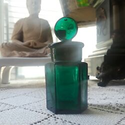 Antique Apothecary Perfume Pharmacy Mini Jar Emerald Green Glass With Stopper