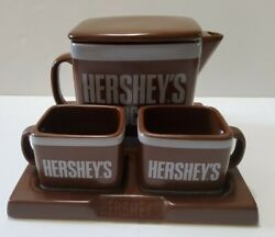 Cookie Jar Hershey's Cocoa W/ 2 Milk Cups For Cookie Dipping Base 2007 Ceramic