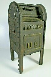 Vintage Cast Iron Letters Us Air Mail Box Bank W/door, Embossed Eagle