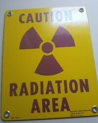 Vintage Porcelain Caution High Radiation Area Sign Industrial Safety Advertising